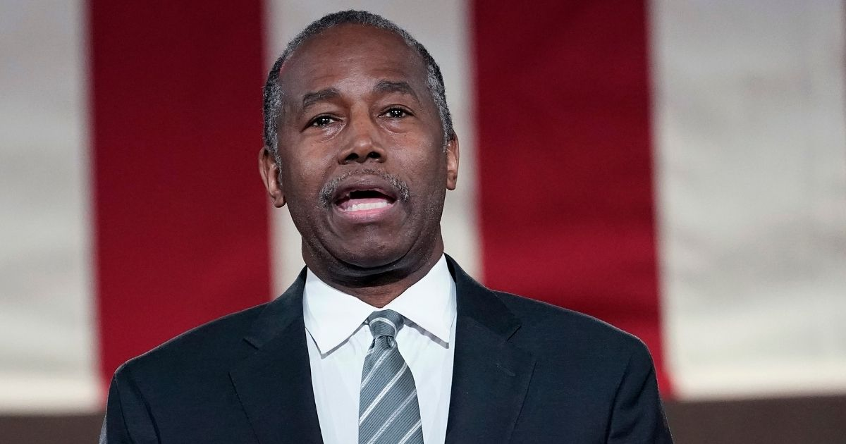Then-Housing and Urban Development Secretary Ben Carson addresses the virtual Republican National Convention at the Andrew W. Mellon Auditorium on Aug. 27, 2020 in Washington, D.C.