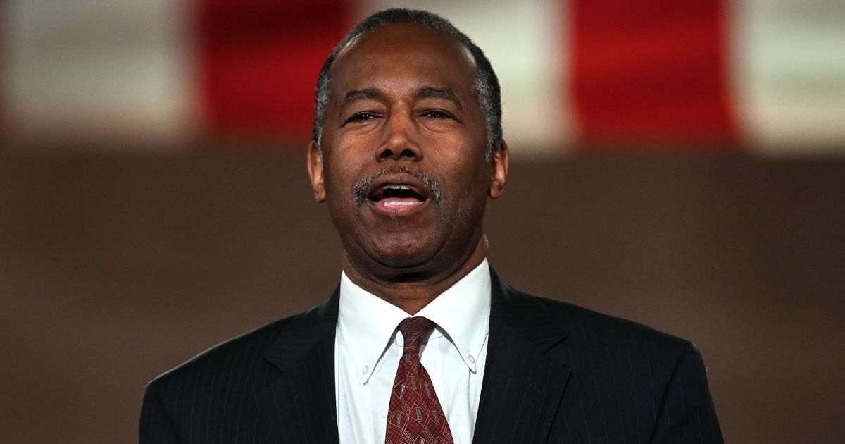 Then-Housing and Urban Development Secretary Ben Carson addresses the Republican National Convention in a pre-recorded speech at the Andrew W. Mellon Auditorium in Washington, D.C., on Aug. 26, 2020.
