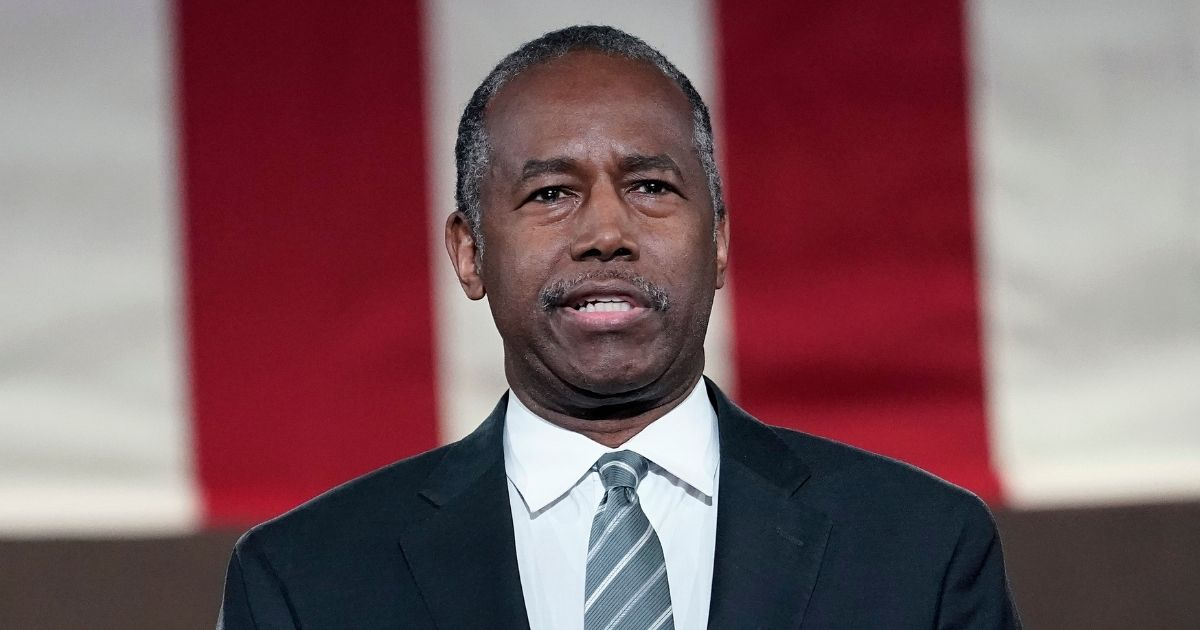 Housing and Urban Development Secretary Ben Carson addresses the virtual Republican National Convention at the Andrew W. Mellon Auditorium on Aug. 27, 2020, in Washington, D.C.