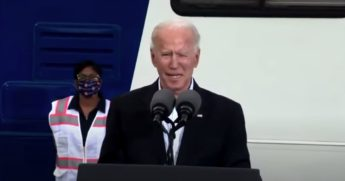President Joe Biden speaks at a vaccine site in Houston.