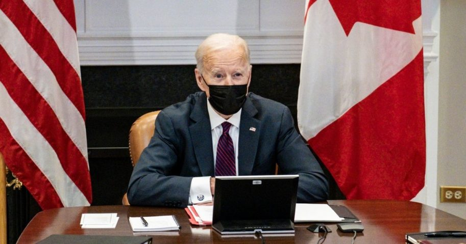 President Joe Biden participates in a virtual bilateral meeting with Prime Minister Justin Trudeau of Canada in the Roosevelt Room of the White House on Tuesday in Washington, D.C.