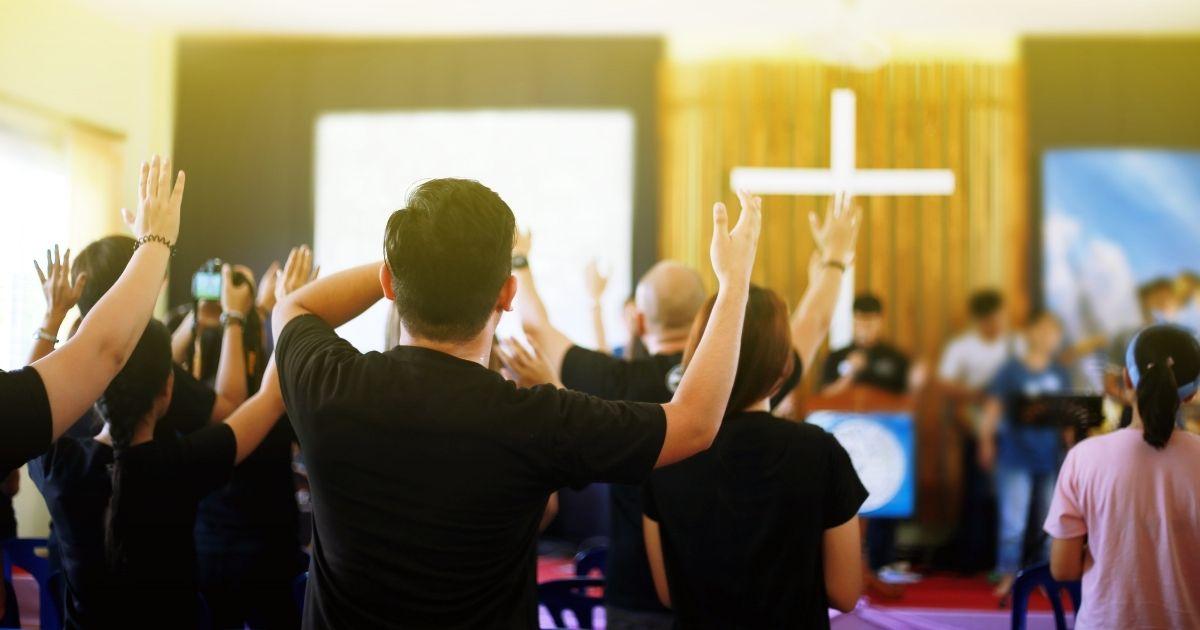 Christians worship in church.