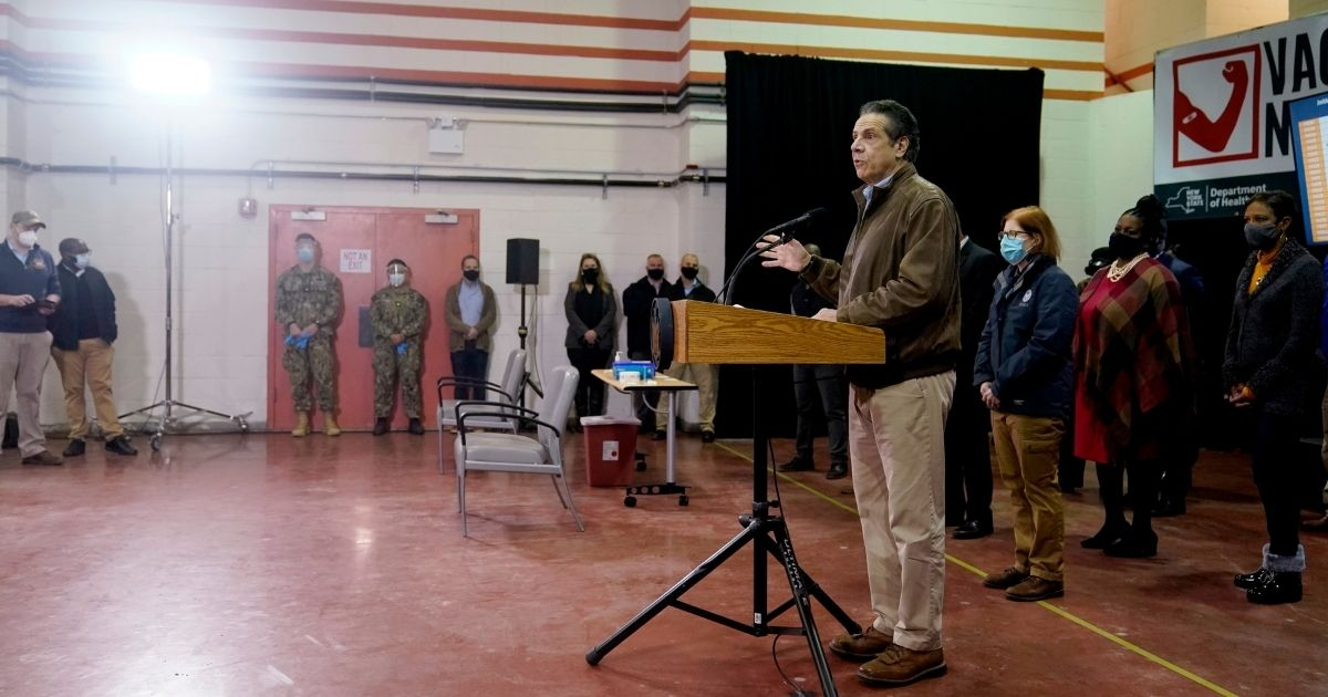 New York Gov. Andrew Cuomo speaks during a news conference before the opening of a COVID-19 vaccination site in the Queens borough of New York on Wednesday.