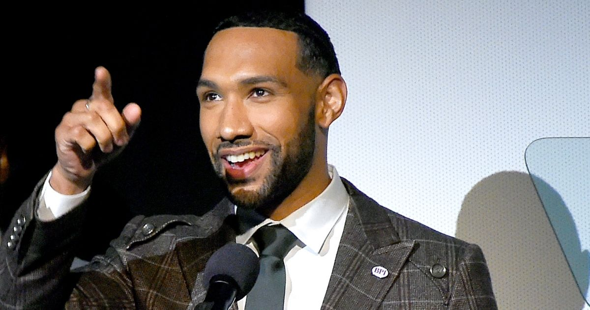 """Dyjuan Tatro speaks on stage at the special screening of """"College Behind Bars"""" at The Apollo Theater on Nov. 12, 2019, in New York City."""