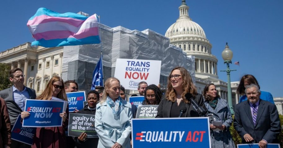 Sarah McBride, national press secretary of Human Rights Campaign, speaks during a rally of transgender activists in favor of the Equality Act at the U.S. Capitol in Washington on April 1, 2019.