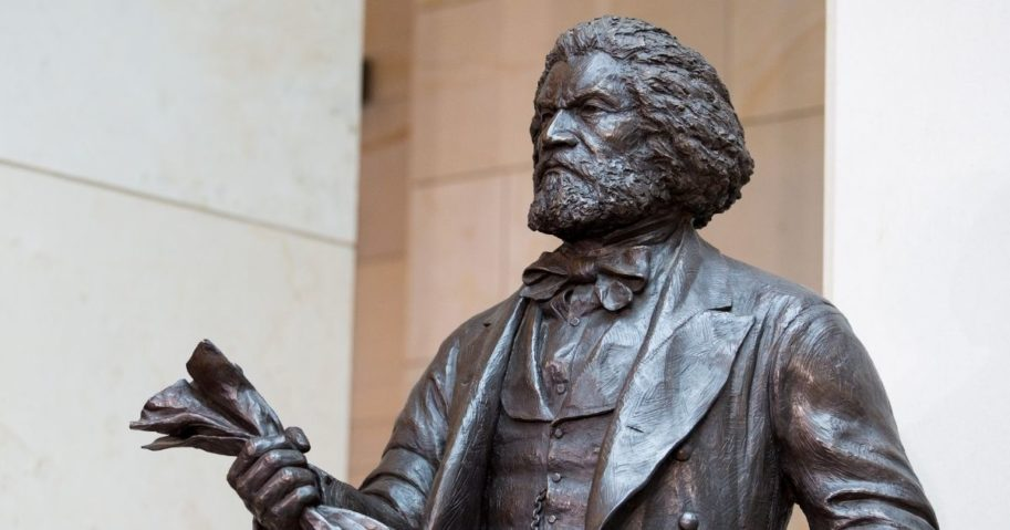 The Frederick Douglass statue in Emancipation Hall at the Capitol Visitors Center is pictured on June 19, 2013, in Washington, D.C.