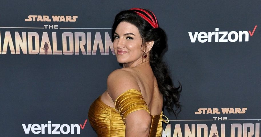 """Actress Gina Carano attends the LA premiere of """"The Mandalorian"""" at the El Capitan Theatre in Los Angeles on Nov. 13, 2019."""