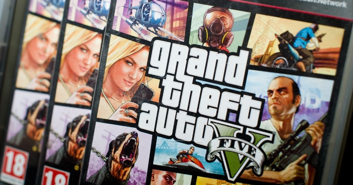 """A close view of the packaging of the console game """"Grand Theft Auto V"""" at the midnight opening of the HMV music store in central London on Sept. 17, 2013."""