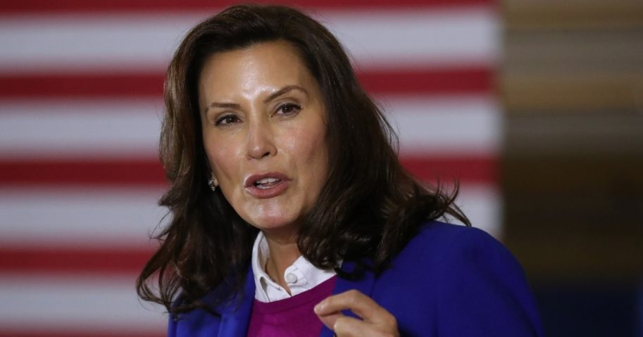 Michigan Gov. Gretchen Whitmer introduces then-Democratic presidential nominee Joe Biden as he delivers remarks about health care at Beech Woods Recreation Center on Oct. 16, 2020, in Southfield, Michigan.