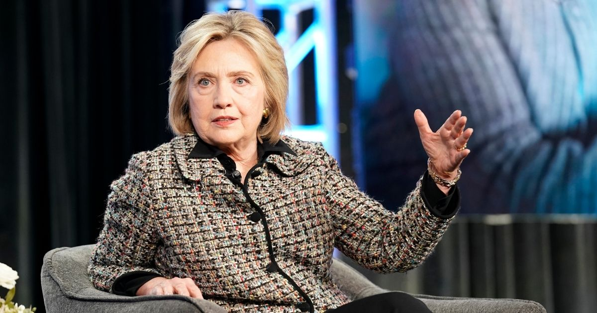 Former Secretary of State Hillary Clinton speaks onstage during the Hulu Panel at Winter TCA 2020 on Jan. 17, 2020, in Pasadena, California.