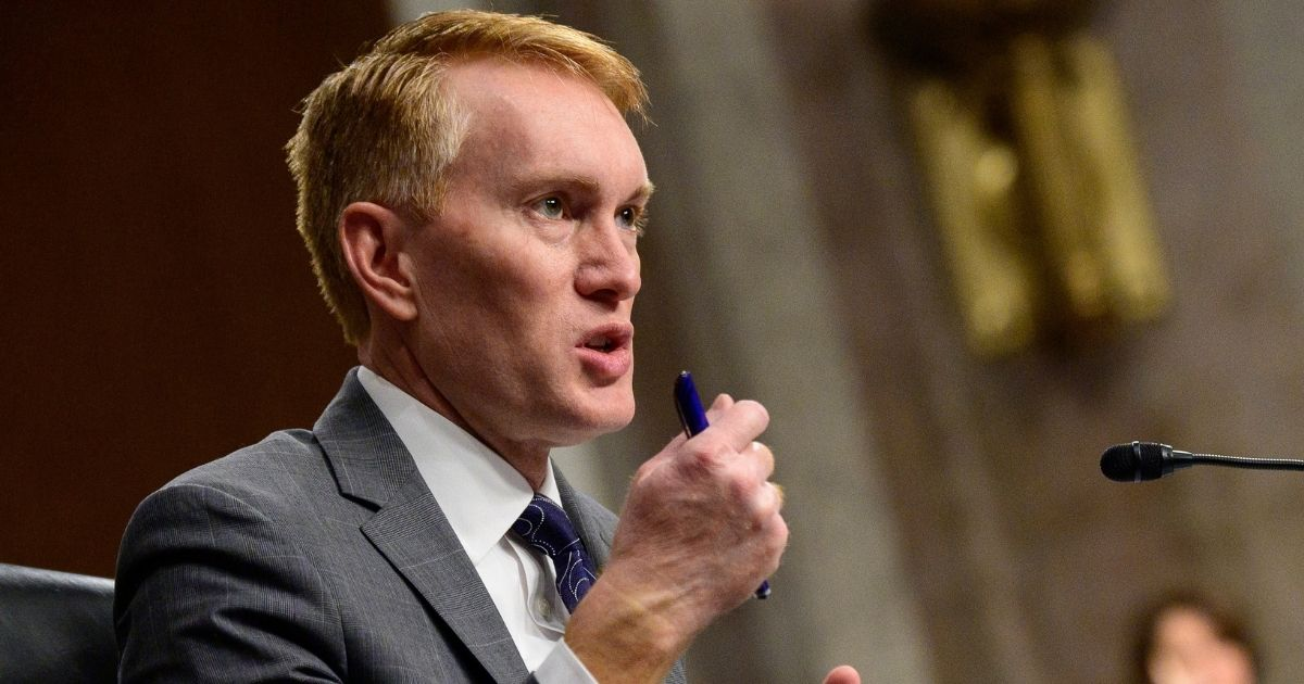 Oklahoma GOP Sen. James Lankford speaks during a Senate Homeland Security and Governmental Affairs & Senate Rules and Administration joint hearing on Capitol Hill in Washington on Tuesday.
