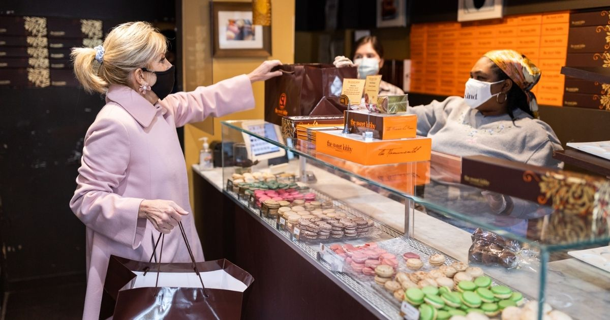 The first lady Jill Biden buys treats for Valentine's Day.
