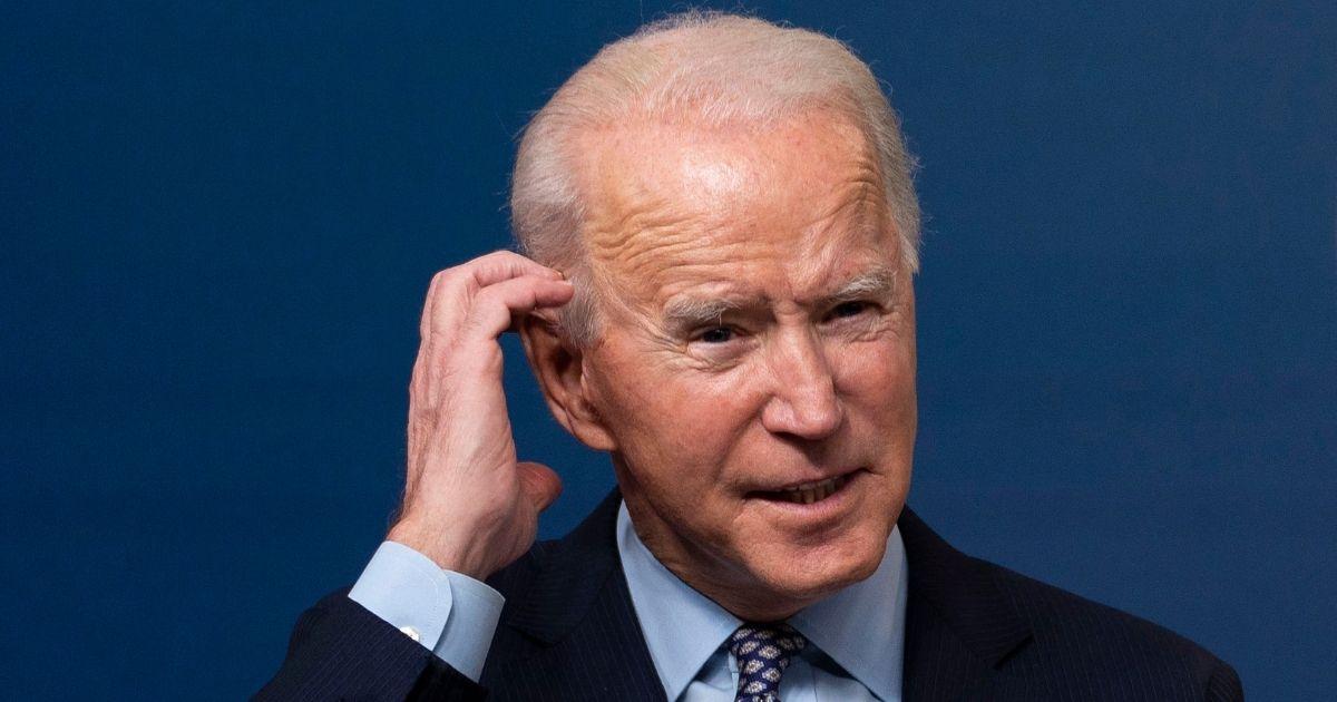 President Joe Biden speaks Thursday in the South Court Auditorium of the Eisenhower Executive Office Building in Washington.