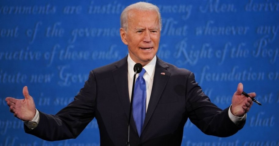 Then-candidate Joe Biden speaks during the final presidential debate at Belmont University in Nashville, Tennessee, on Oct. 22, 2020.