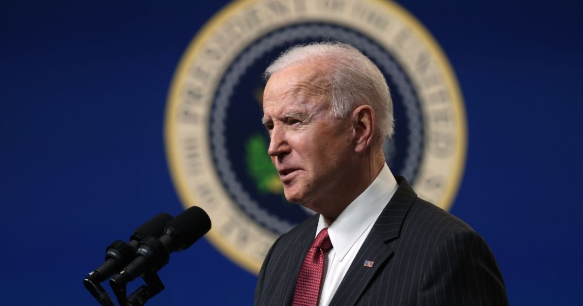 President Joe Biden speaks as he makes a statement at the South Court Auditorium at the Eisenhower Executive Building in Washington, D.C., on Wednesday.