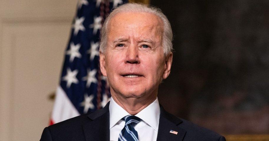 President Joe Biden speaks in the State Dining Room of the White House in Washington on Wednesday.