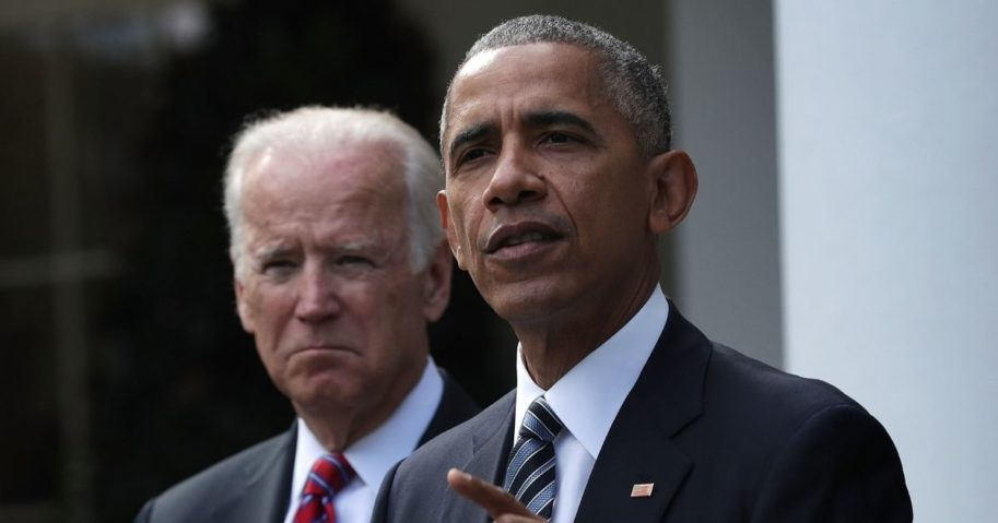 Then-President Barack Obama speaks as then-Vice President Joseph Biden listens in the Rose Garden at the White House on Nov. 9, 2016, in Washington, D.C.