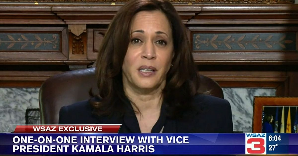 Vice President Kamala Harris speaks during an interview with WSAZ-TV in Huntington, West Virginia.