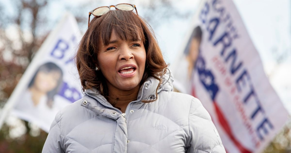 Kathy Barnette, then a Republican candidate for Pennsylvania's 4th congressional district, talks to supporters during a rally on Oct. 31, 2020, in Trooper, Pennsylvania.