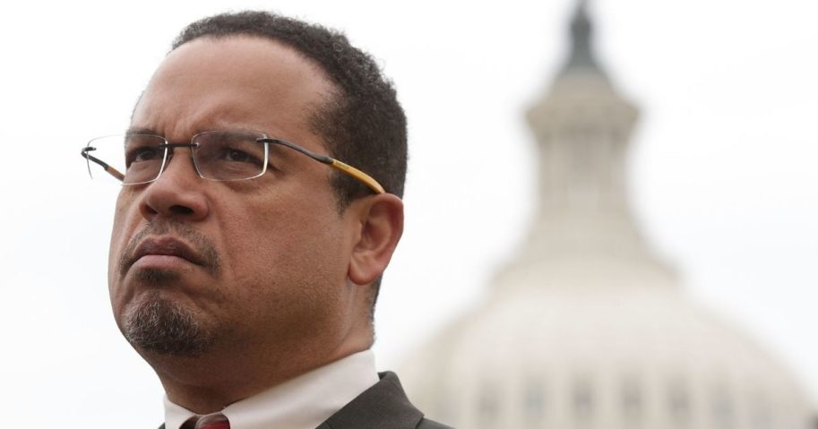 Then-Rep. Keith Ellison, a Minnesota Democrat, listens during a news conference in front of the Capitol on Feb. 1, 2017, on Capitol Hill in Washington, D.C.