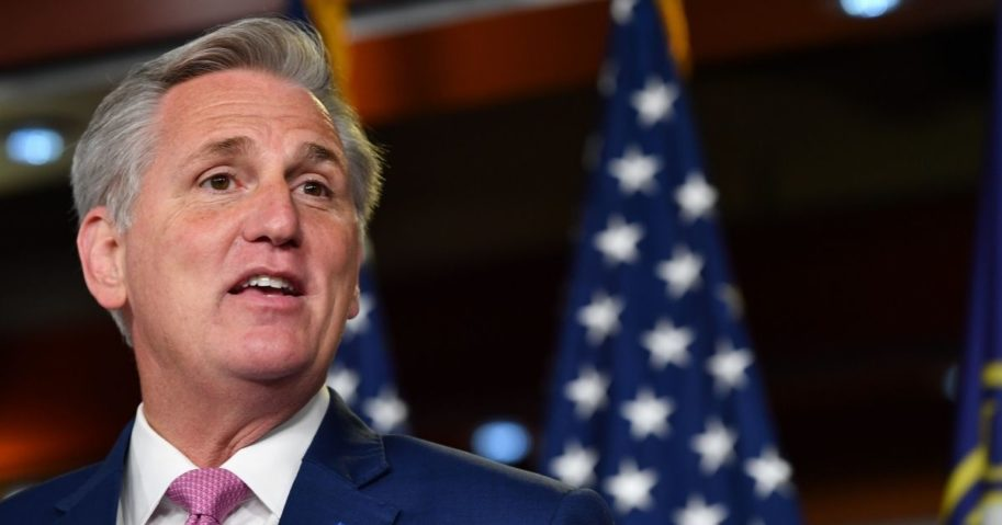 House Minority Leader Kevin McCarthy holds his weekly news conference at Capitol Hill in Washington, D.C., on May 28, 2020.