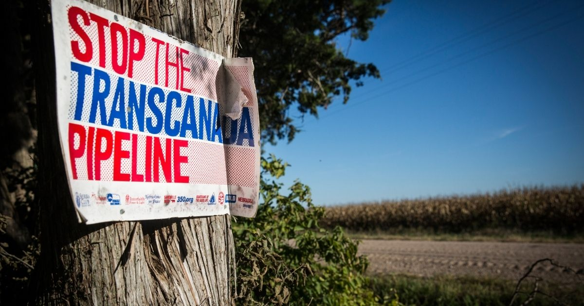 A sign against the Keystone XL pipeline is posted to a tree on Oct. 11, 2014, in Polk, Nebraska.