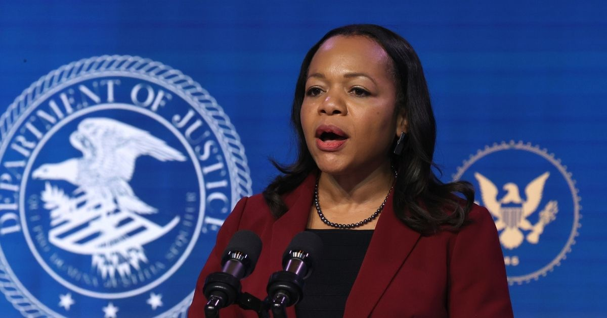 Kristen Clarke delivers remarks after being nominated to be Civil Rights Division assistant attorney general by President Joe Biden at The Queen theater on Jan. 7, 2021, in Wilmington, Delaware.