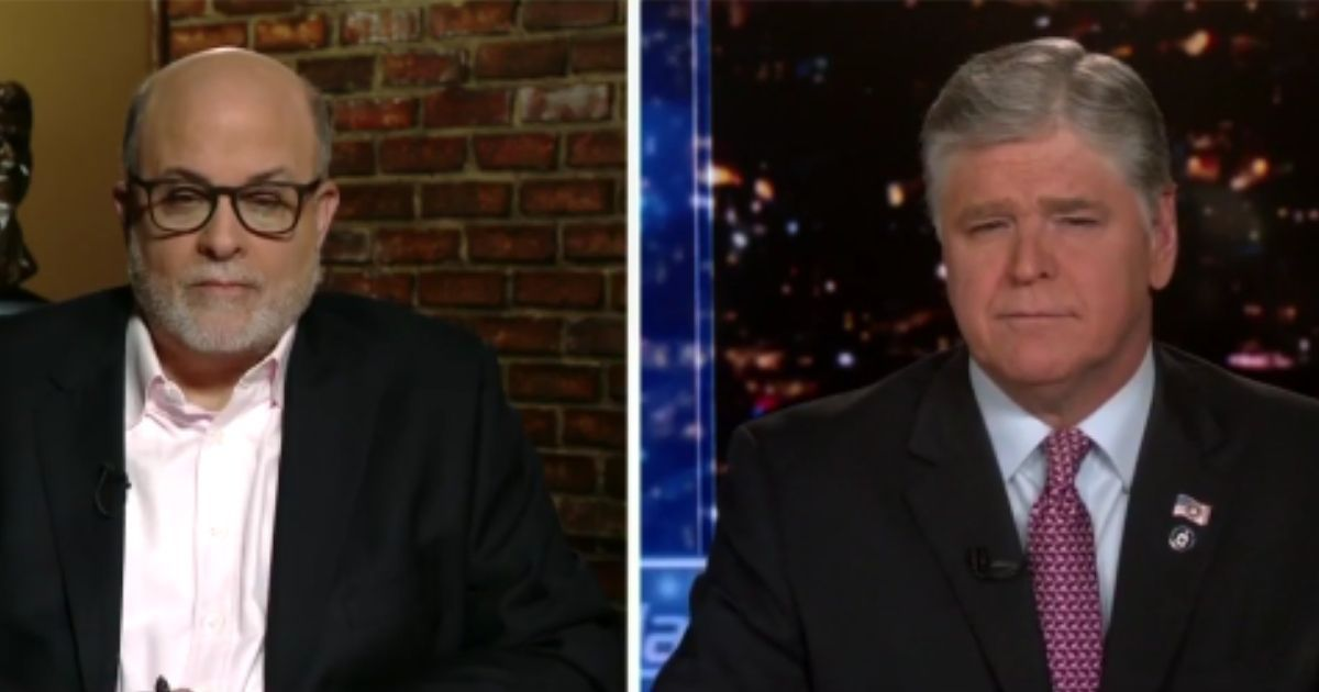 """On Fox News' """"Hannity"""" on Wednesday, conservative commentator Mark Levin, left, spoke with host Sean Hannity and argued that Democratic Senate Majority Chuck Schumer should be on trial for his 2020 remarks about members of the U.S. Supreme Court."""