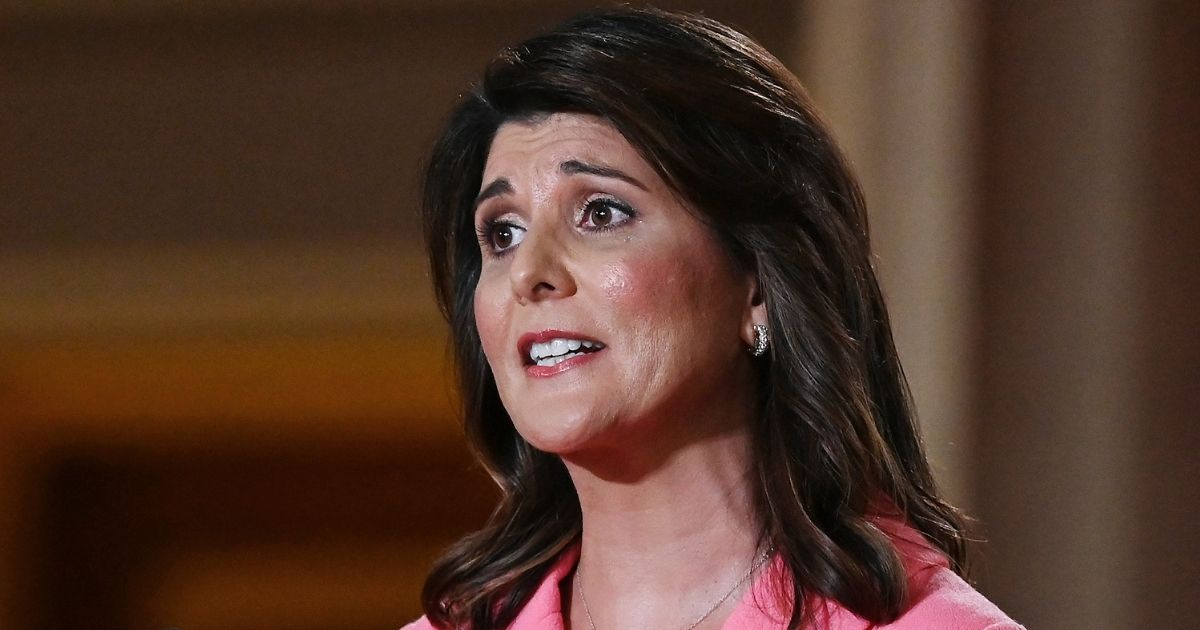 Former U.S. Ambassador to the United Nations Nikki Haley speaks during the first day of the Republican convention at the Mellon Auditorium in Washington on Aug. 24.