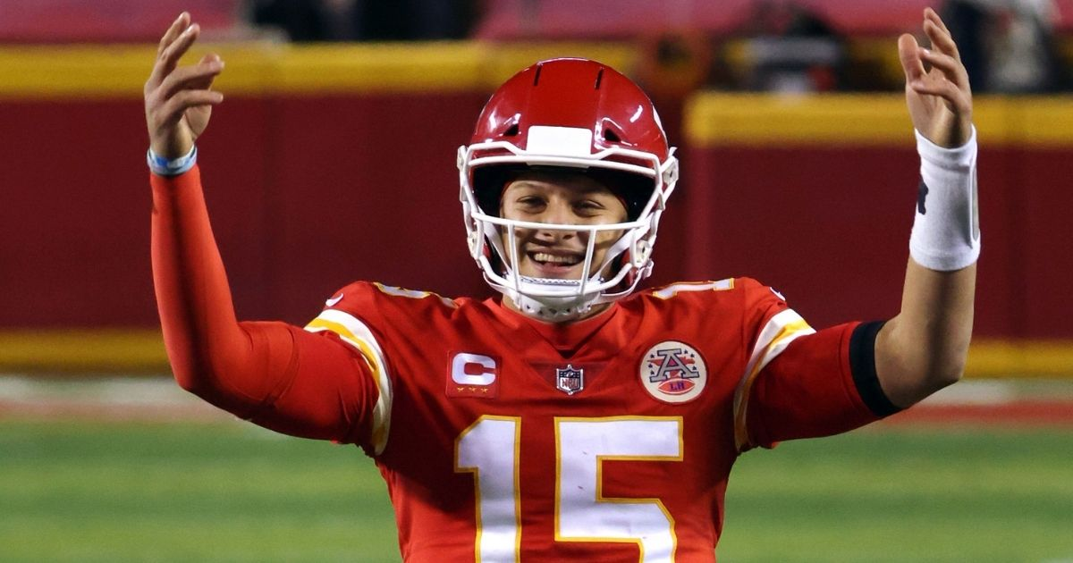 Patrick Mahomes of the Kansas City Chiefs celebrates in the fourth quarter of the AFC championship game against the Buffalo Bills at Arrowhead Stadium on Jan. 24.