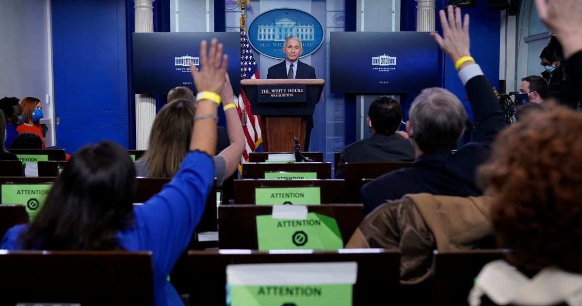 Dr. Anthony Fauci, director of the National Institute of Allergy and Infectious Diseases, takes questions as he speaks with reporters in the James Brady Press Briefing Room at the White House, Thursday, Jan. 21, 2021, in Washington, D.C.
