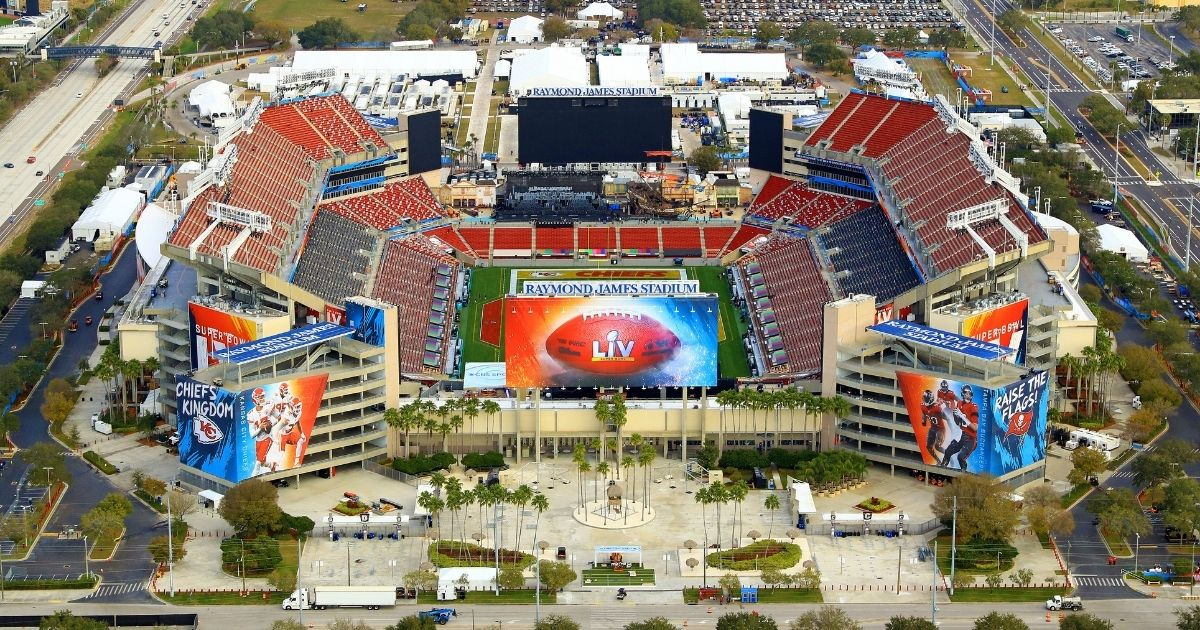 Raymond James Stadium in Tampa, Florida, is seen Sunday, a week ahead of Super Bowl LV between the Kansas City Chiefs and Tampa Bay Buccaneers.