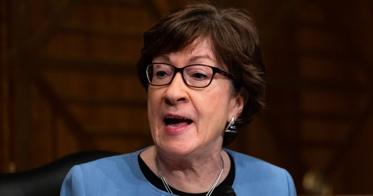 Republican Susan Collins of Maine speaks during a hearing of the Senate Health, Education, Labor, and Pensions Committee in the Dirksen Senate Office Building on Capitol Hill in Washington on Feb. 4.