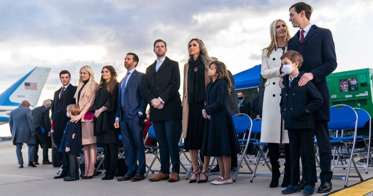 Jared Kushner, right, and other members of the Trump family wait for President Donald Trump to arrive at Andrews Air Force Base, Maryland, on Jan. 20, his last day in office.