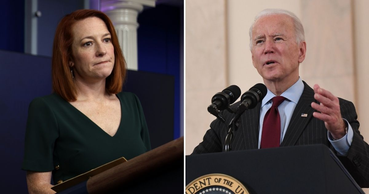 White House press secretary Jen Psaki, left, and President Joe Biden, right, are coming under fire for old tweets condemning former President Donald Trump's use of airstrikes, when Biden just unleashed an airstrike in Syria on Thursday.