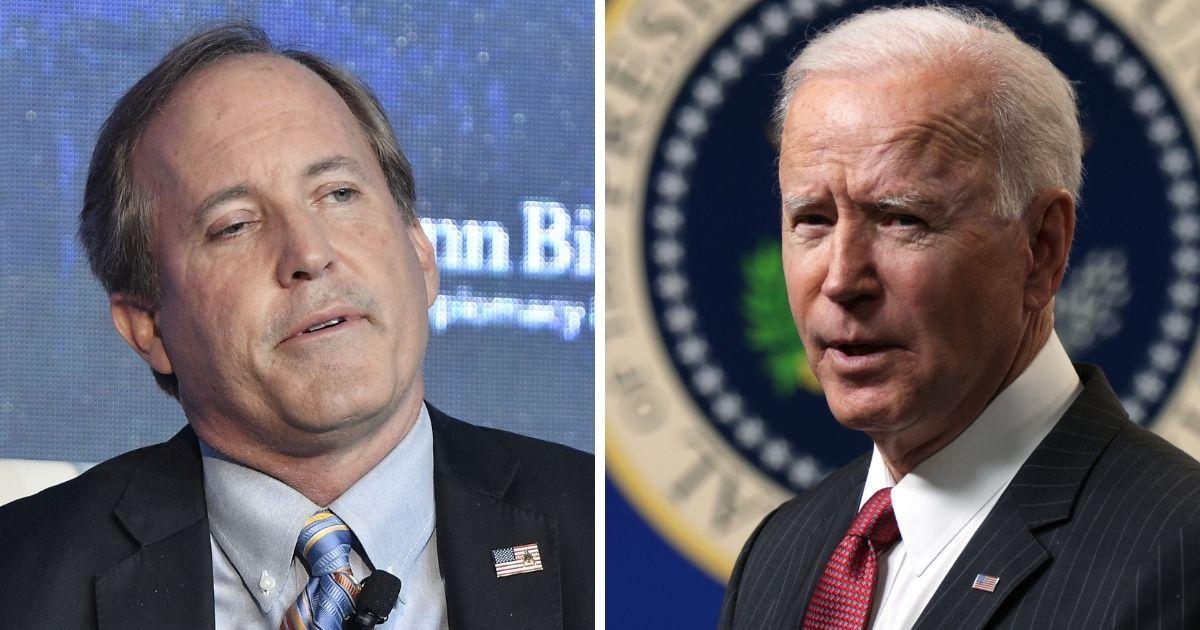 Texas Attorney General Ken Paxton, left; and President Joe Biden, right.