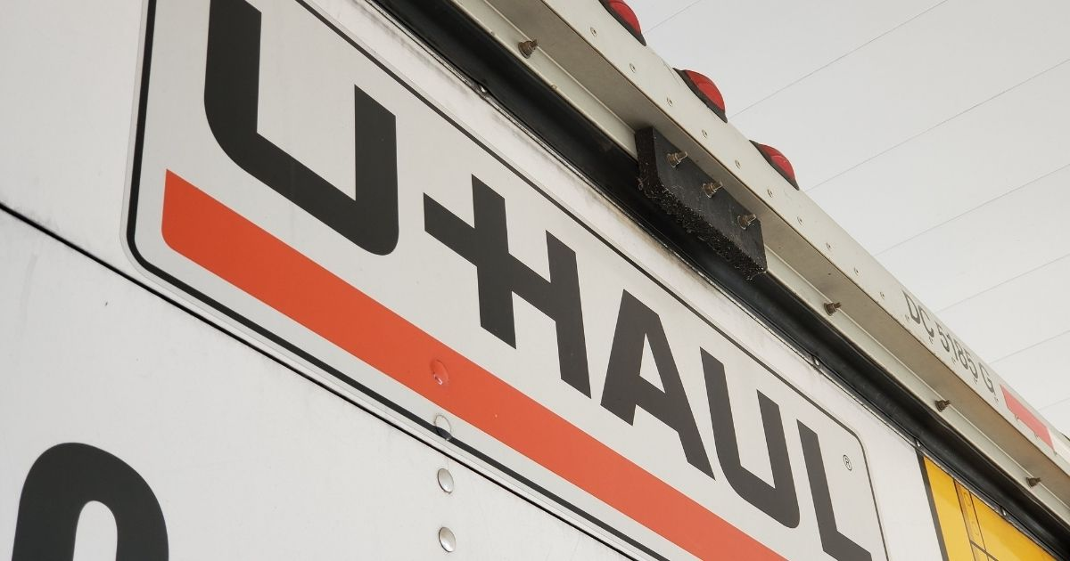 The U-Haul company logo is pictured on the side of a moving truck in Pleasant Hill, California, on Dec. 8, 2020. In Philadelphia, a dismembered body was discovered inside a trash bag in the back of a U-Haul on Feb. 11, 2021.