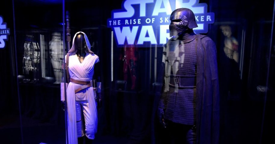 'Star Wars' costumes for Rey and Kylo Ren are on display at the Star Ward Marathon hosted by Nerdest at the El Capitan Theater in Hollywood on Dec. 19, 2019.