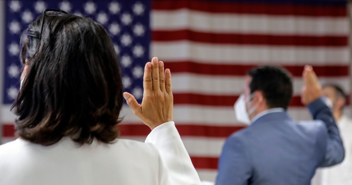 New American citizens are sworn in July 2, 2020, at the U.S. Citizenship and Immigration Service's Field Office in New York.
