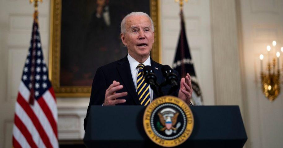 President Joe Biden speaks in the White House on Wednesday.