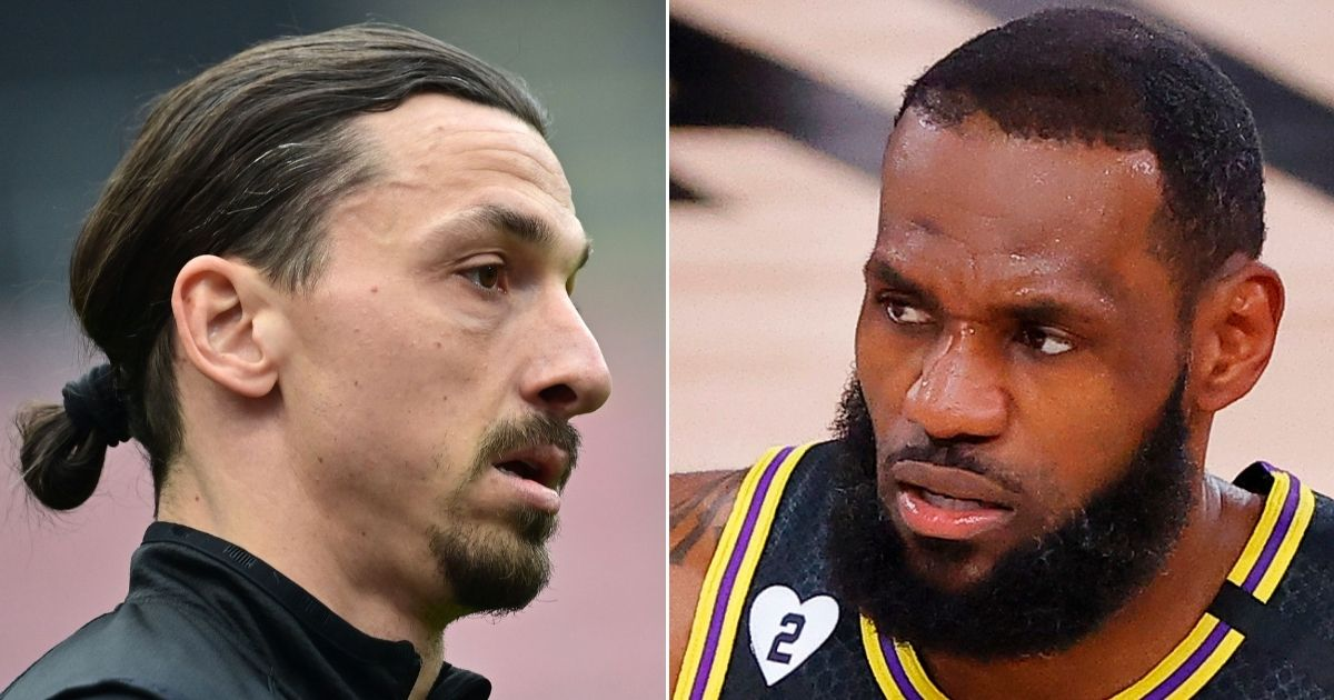 AC Milan's Zlatan Ibrahimovic, left, enjoys watching Los Angeles Lakers star LeBron James, right, play basketball but doesn't care for his political activism.