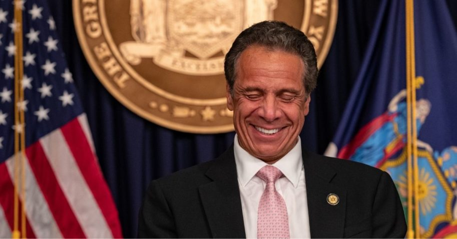 Gov. Andrew Cuomo reacts during his daily media briefing on June 12, 2020, in New York City.