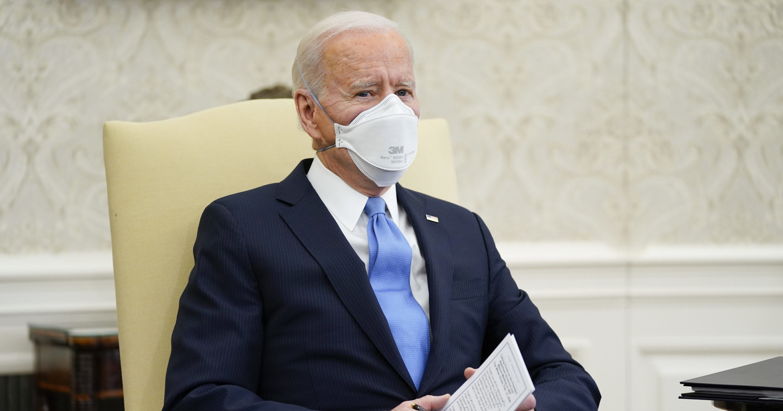 President Joe Biden speaks during a meeting in the Oval Office of the White House on Feb. 12, 2021, in Washington, D.C.