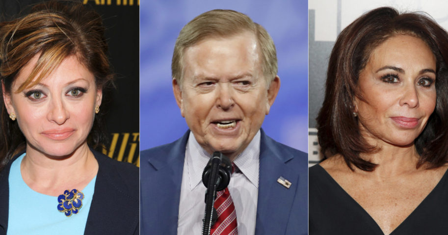 This photo shows, from left, Maria Bartiromo in New York on April 6, 2016, Lou Dobbs at the Conservative Political Action Conference in Oxon Hill, Maryland, on Feb. 24, 2017, and Jeanine Pirro in New York on Jan. 28, 2015.