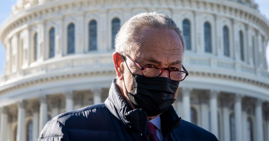 Senate Majority Leader Chuck Schumer speaks during a news conference outside the US Capitol on Feb. 4, 2021, in Washington, D.C.