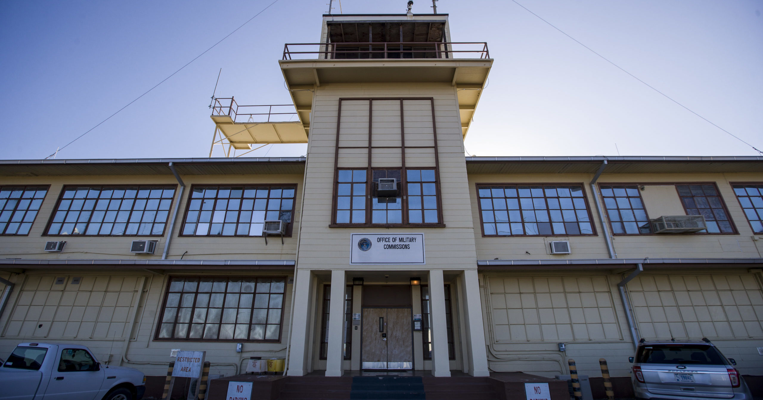 The Office of Military Commissions building is seen on April 18, 2019, at Guantanamo Bay Naval Base, Cuba.