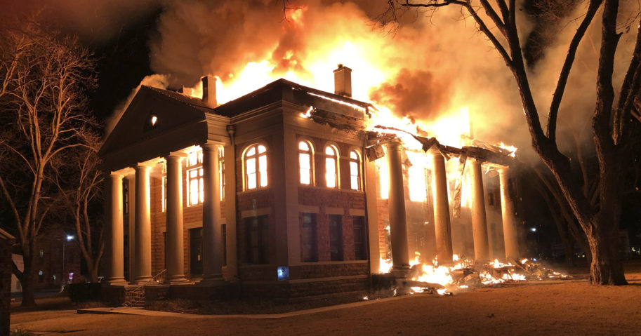 This photo shows a fire at the Mason County Courthouse on Feb. 4, 2021, in Mason, Texas.