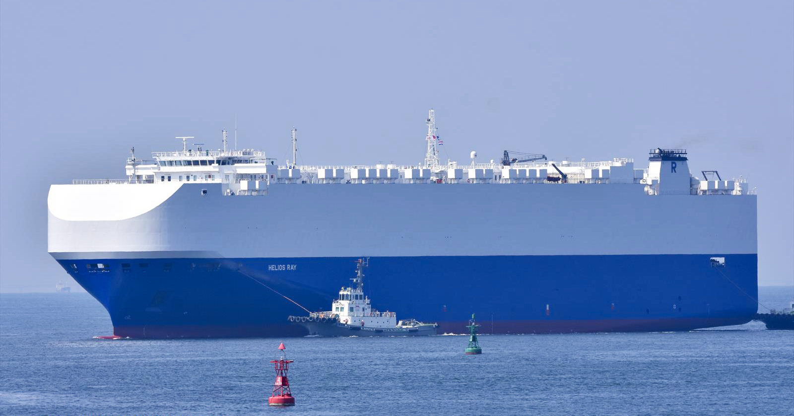 The vehicle cargo ship Helios Ray is seen at the Port of Chiba in Japan on Aug. 14.