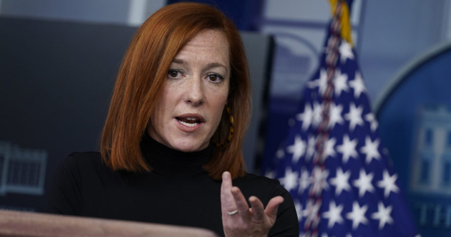 White House press secretary Jen Psaki speaks during a news briefing at the White House on Feb. 3, 2021, in Washington, D.C.