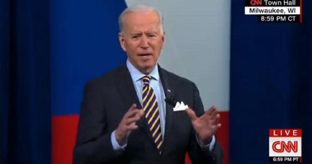 Joe Biden appears on a CNN town hall on Tuesday.